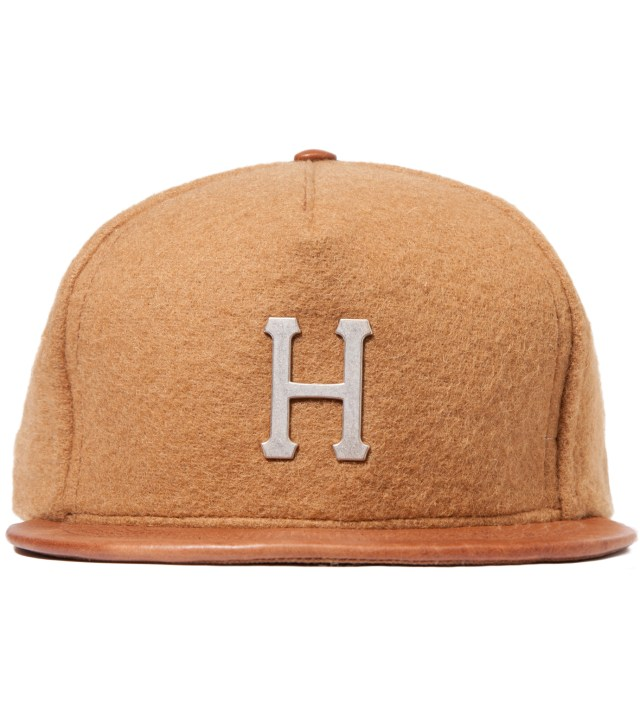 Camel Melton Wool Metal H 5 Panel Cap