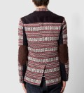 Grey/Red Winter 3 Button Contrast Knit Blazer