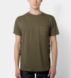 Tantum Olive Side Panel Tiger Stripe Camo T-Shirt Model Picutre