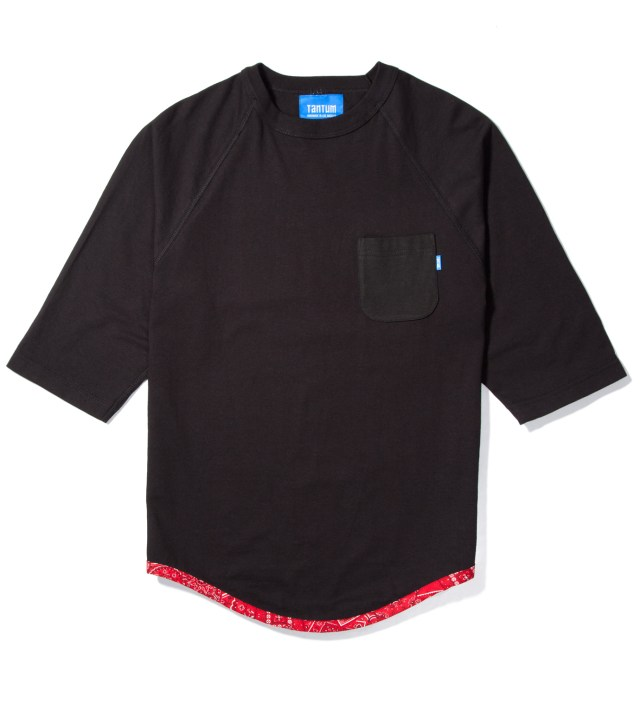 Black Tonal Hem Trim Red Bandana Raglan
