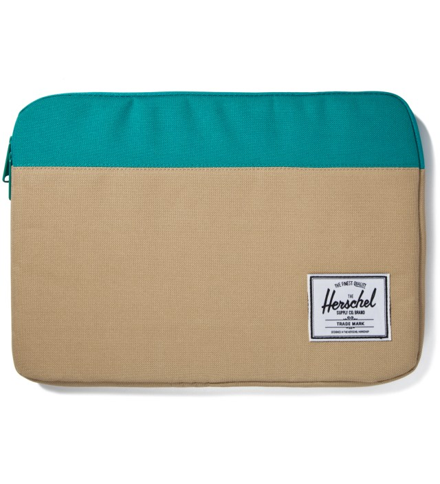 "Khaki/Teal Anchor Sleeve for 13"" Macbook Pro"