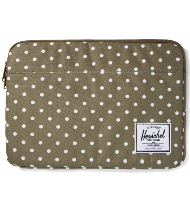"Olive Polka Dot Anchor Sleeve for 13"" Macbook Pro"