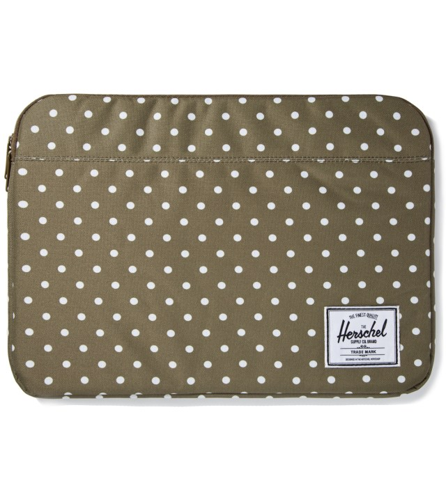 "Olive Polka Dot Anchor Sleeve for 15"" Macbook Pro"