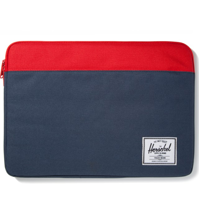 "Red/Navy Anchor Sleeve for 15"" Macbook Pro"