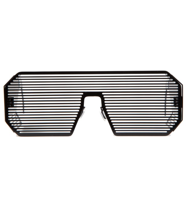 Boris Bidjan Saberi x Linda Farrow Matt Black and Stainless Steel Sunglass