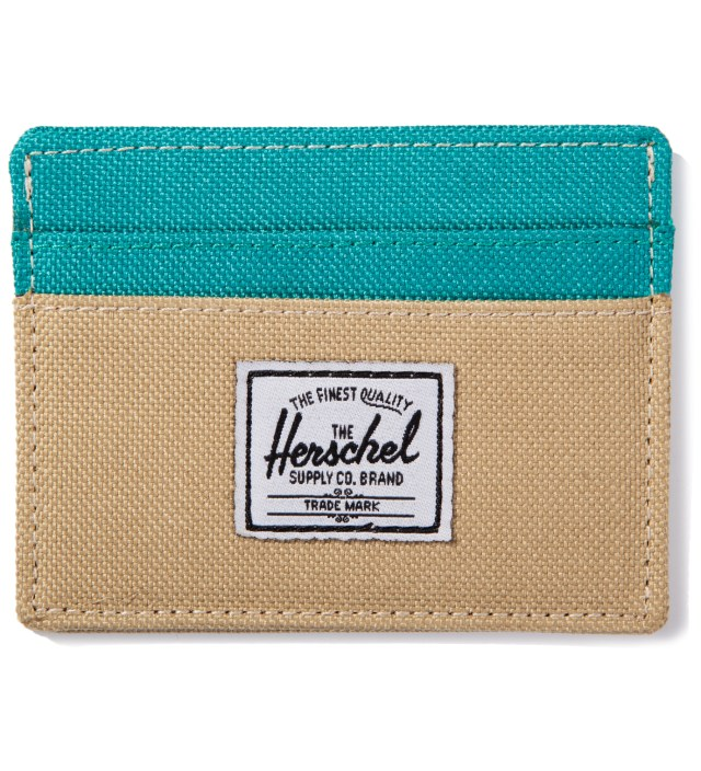 Khaki/Teal Charlie Card Case