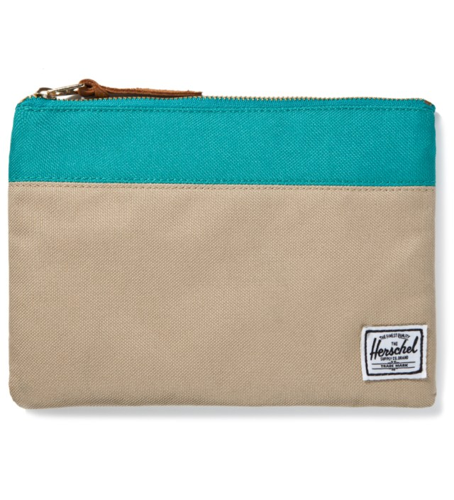 Khaki/Teal Field Pouch Large