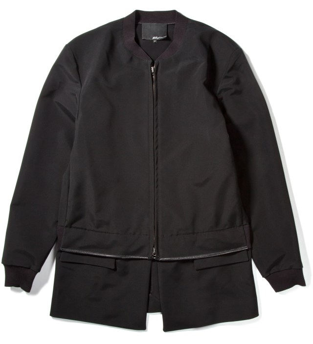 Black Zip Front Athletic Jacket with Detachable Panel