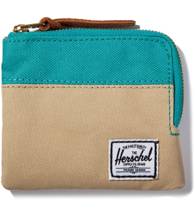 Khaki/Teal Johnny Wallet