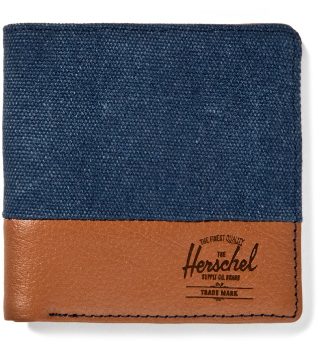 Washed Navy/Tan Pebble Leather Kenny Wallet