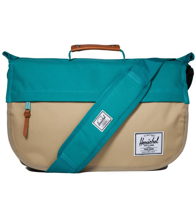 Khaki/Teal Mill Messenger Bag