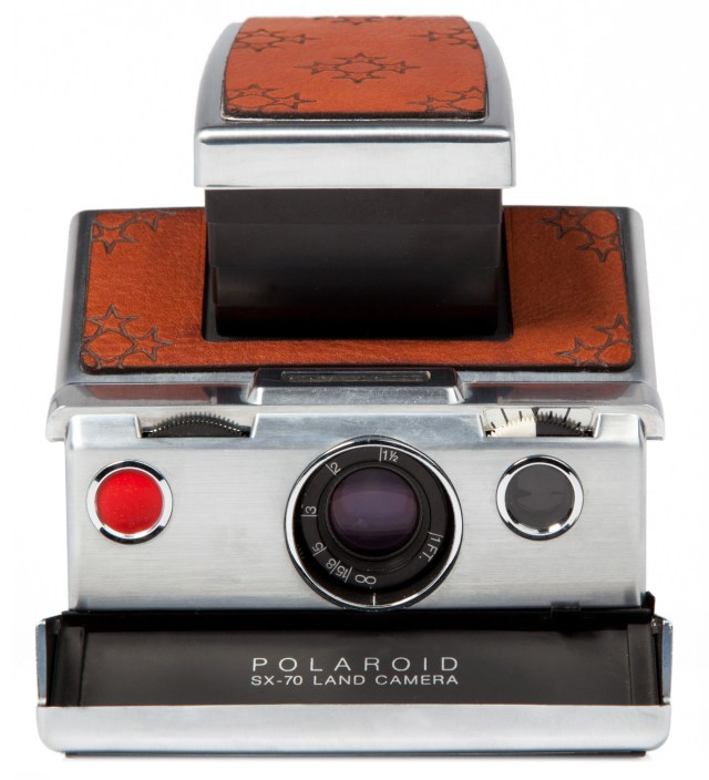 Brown Leather Star Graphic Print Japan Custom SX-70