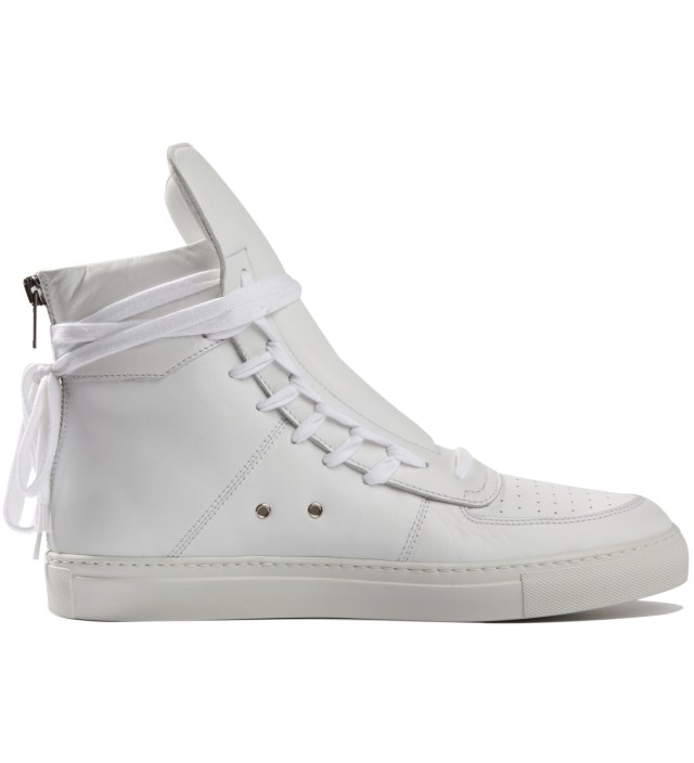 White Sneakers with Lacing on Sides