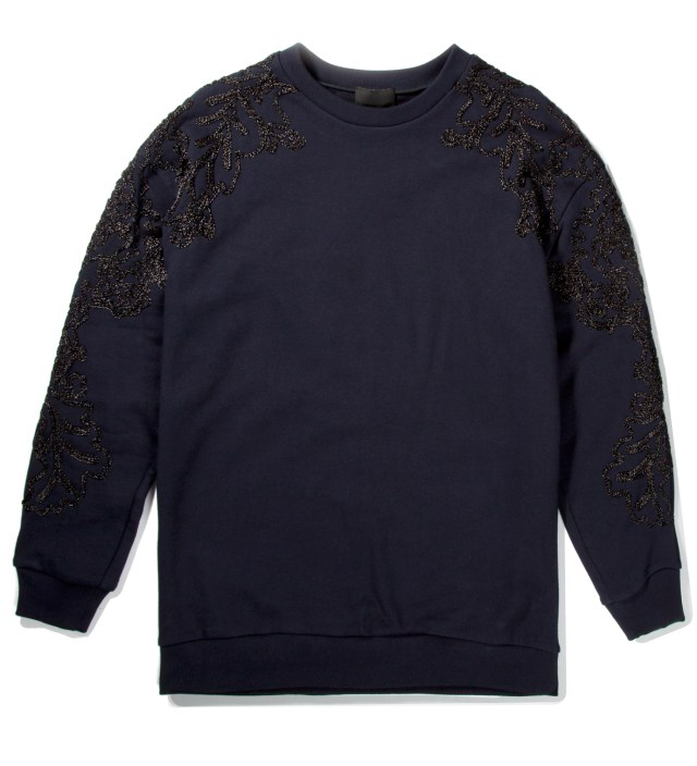 Navy Oversized Pullover with Metallic Floral Applique