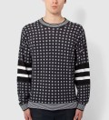 Black Classic Fit L/S Crewneck Pullover with Stripe Pattern