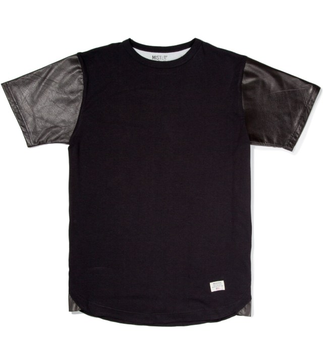 Black Mr. Hide Leather Sleeve T-Shirt