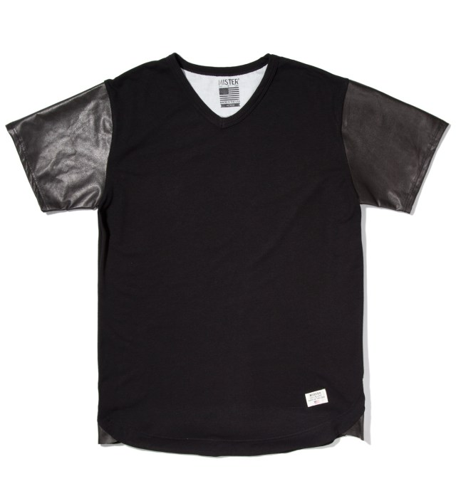 Black Mr. Hide Leather Sleeve V-Neck T-Shirt