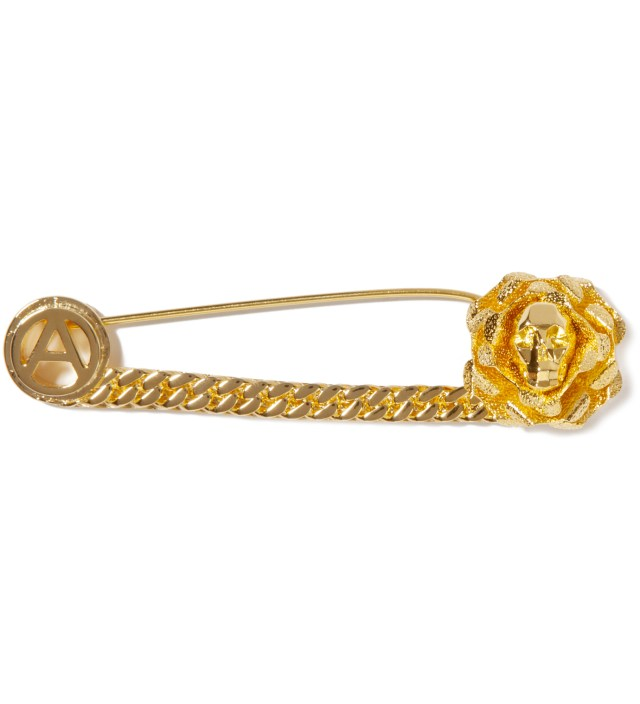 Gold Skull Safety Pin