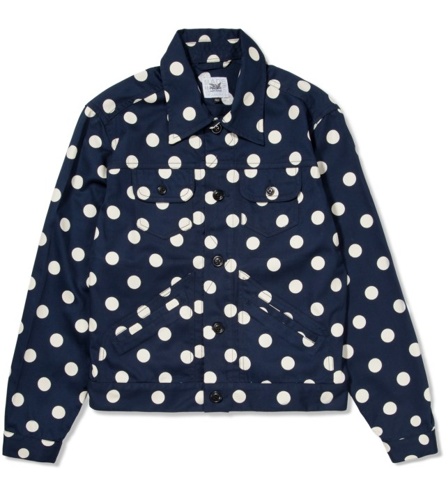 Navy With White Dot Jean Jacket