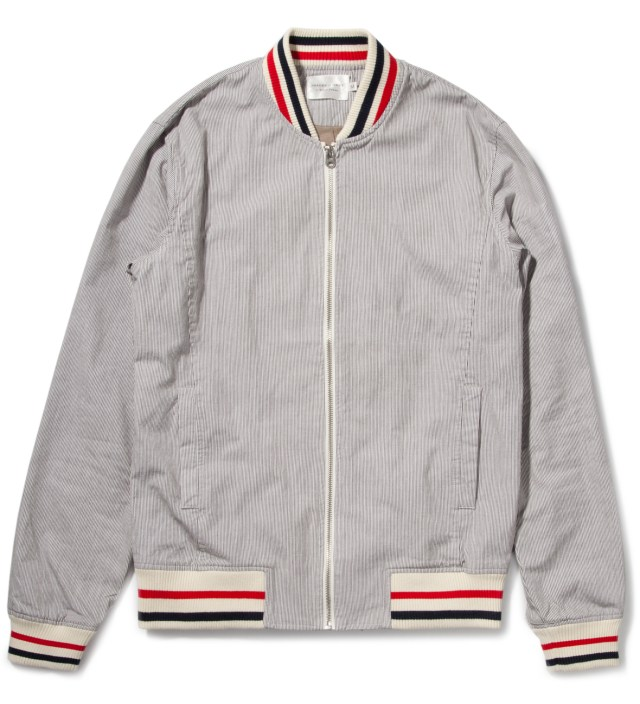 Grey Stripe Varsity Jacket