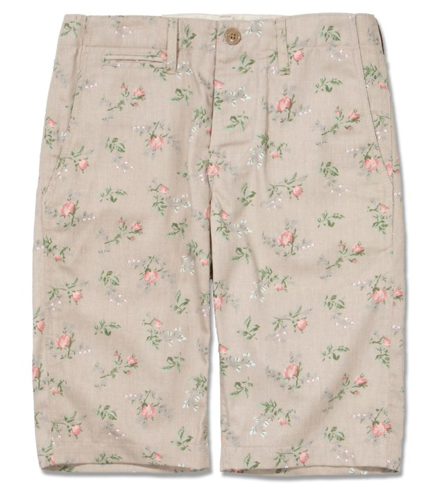 Khaki Floral Chino Short