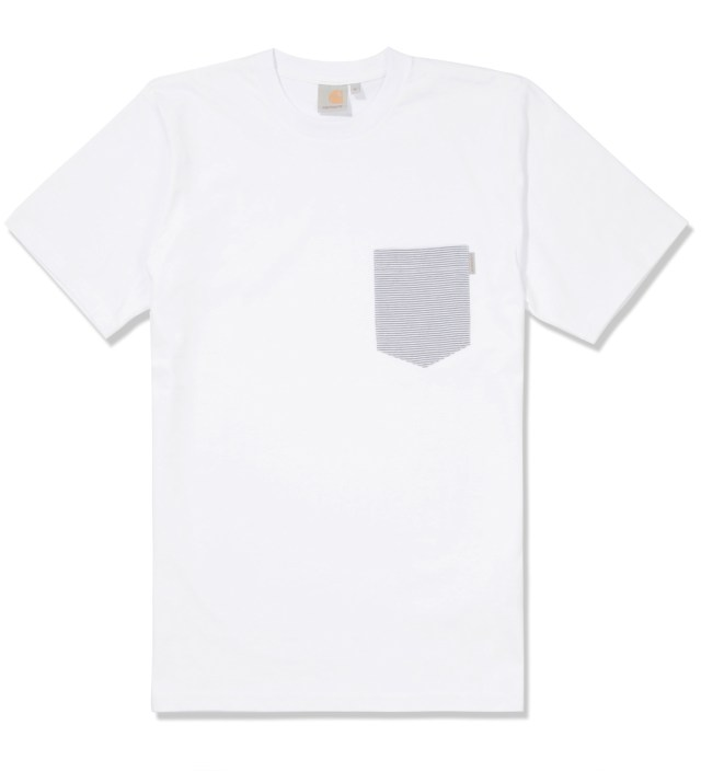 White/Loft Stripe Blue Counter Pocket T-Shirt