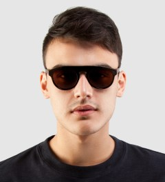 SUPER BY RETROSUPERFUTURE Racer Leather and Acetate Sunglasses Model Picutre