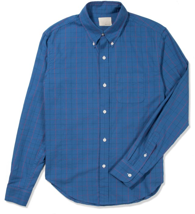 Blue Oxford Tattersall Button Down Shirt