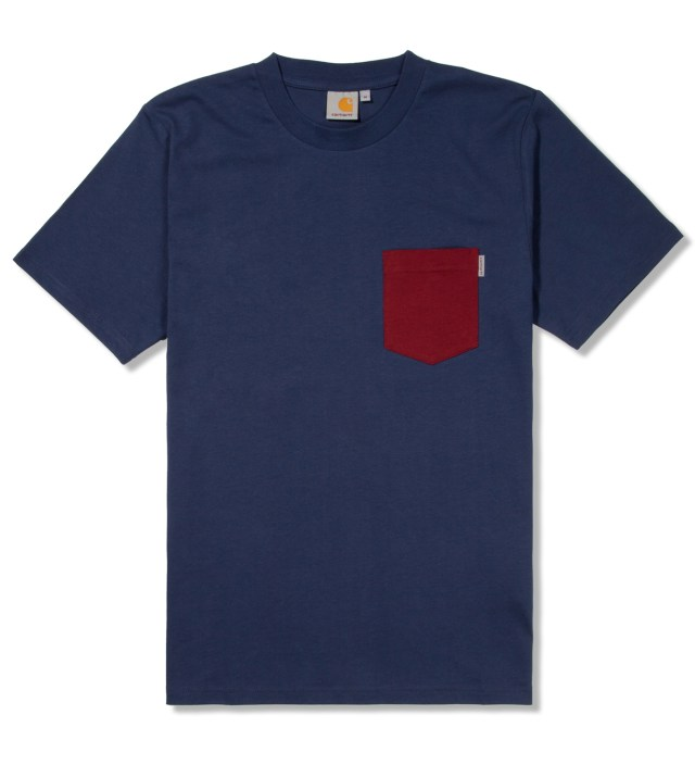 Blue/Cranberry Contrast Pocket T-Shirt