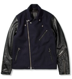 MKI BLACK Navy/Black Wool Mix Biker Jacket Picutre