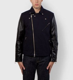 MKI BLACK Navy/Black Wool Mix Biker Jacket Model Picutre