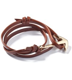 Miansai Brown Gold Plated Anchor Leather Bracelet Picutre