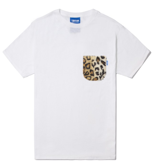 White Faux Fur Leopard Pocket T-Shirt