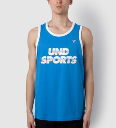 Undefeated Blue UND Sports Tank Top Model Picutre