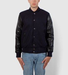 MKI BLACK Navy/Black Varsity Jacket Model Picutre