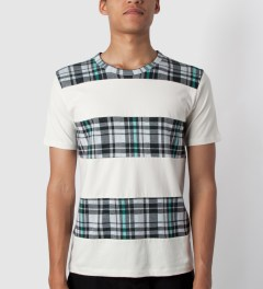 Aloye Plaid/White Akzidenz Check #4 Short Sleeve T-Shirt Model Picutre