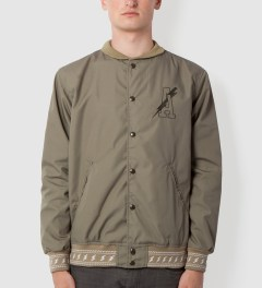 Acapulco Gold Olive Lightning Bolt Baseball Jacket Model Picutre