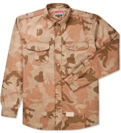 Acapulco Gold Khaki Woodland Officer's Ripstop Button Down Shirt Picutre