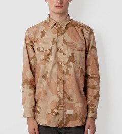 Acapulco Gold Khaki Woodland Officer's Ripstop Button Down Shirt Model Picutre