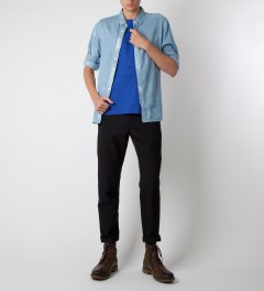 Carven Royal Blue Cerf Antlers Jersey T-Shirt Model Picutre
