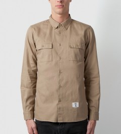 Bedwin & The Heartbreakers Beige BRIAN Button Down OX Shirt Model Picutre