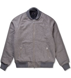 MKI BLACK Grey MKI Black Raglan Varsity Jacket Picutre