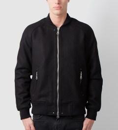 MKI BLACK Black MKI Black Raglan Varsity Jacket Model Picutre