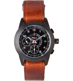 Miansai Cognac Vintage/Black M2 PVD Leather W/ Ribbon Watch Picutre