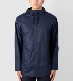 RAINS Blue Jacket Model Picutre