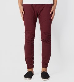 ZANEROBE Burgundy Sureshot Drawstring Chino Pants Model Picutre