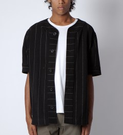 clothsurgeon Black M.F.Y Wool Baseball Jersey Model Picutre