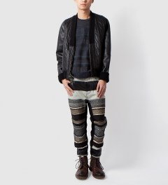 3.1 Phillip Lim Black Zip Up Cardigan w/ Combo Front Model Picutre