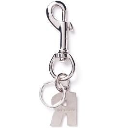 Raf Simons Navy R Hanger Keychain  Model Picutre