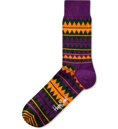 Happy Socks Purple/Orange/Green Zig Zag Sock Picutre